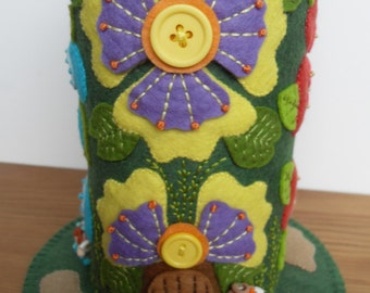 Big Blooming Fairy Houses - Large Felt Pincushion