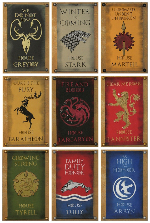 House Name And Motto Game Of Thrones Nine Banner Bundle