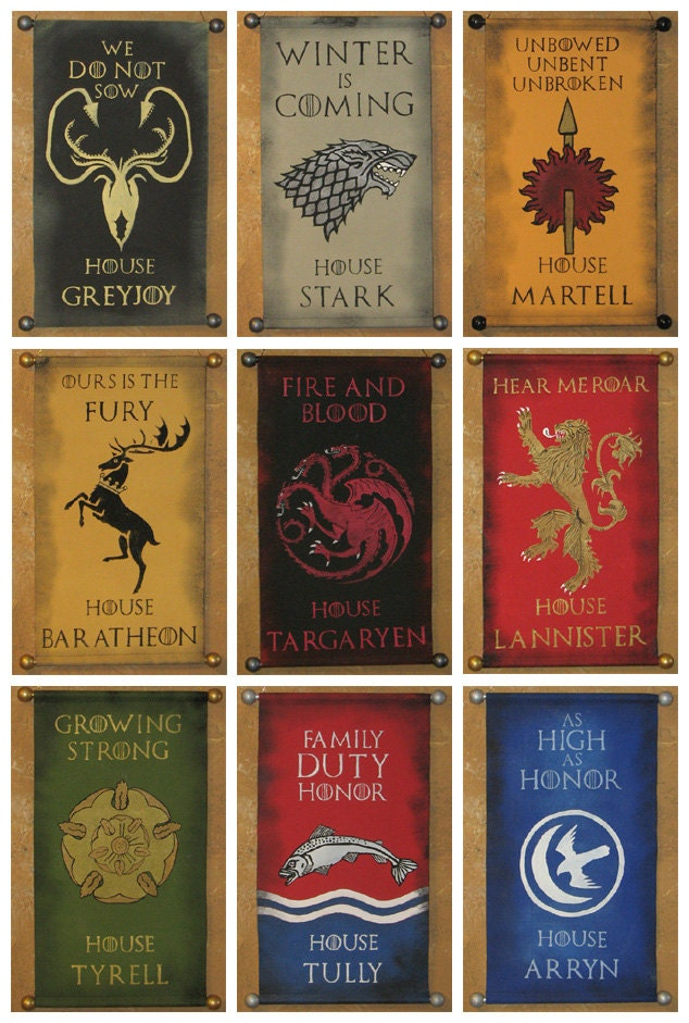 Game of thrones banners list the image for House of names