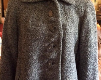 Vintage 1940s Coat Grey Wool Boucle Fabulous Buttons Longer Swing Style Fully Lined Heavier Weight