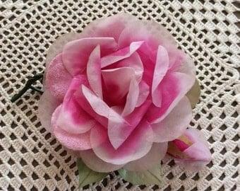 Vintage 1960s Millinery Corsage Pink Rose Fabric Velvet