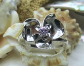 Sterling Silver Phalaenopsis Orchid Ring with Amethyst 3D Size 10