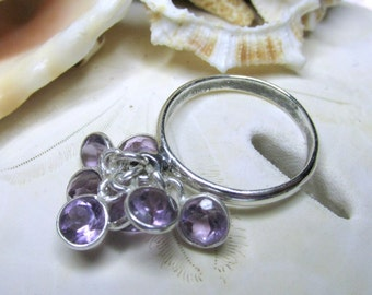 Sterling Silver Amethyst Cha Cha Dangle Charm Ring  3ctw Size 7