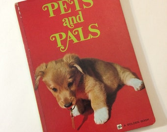 Vintage Children's Book - Pets and Pals -  a Board Book Printed in Japan 1970's