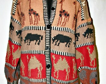 Designer Cardigan Sweater Tribal  Earth Tones Animal Motif Hand Knitted Cotton Sz Large Safari Design with Giraffes Camels Elephants