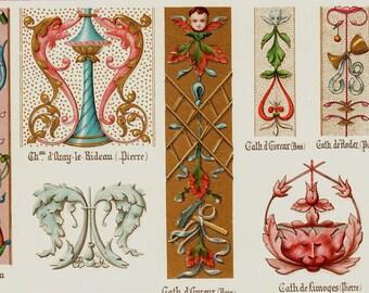1910 Antique DECORATIVE ARTS illuminated print, angel, Middle age ornaments, decorative patterns,