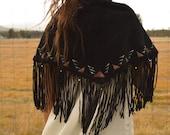 Vintage Black Suede Leather Fringe Shawl Wrap Skirt with Geometric Ethnic Pattern