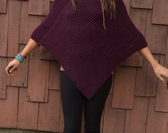 Vintage Lord & Taylor Eggplant Double Thick Knit Poncho Shawl