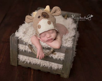 Neutral Up-Cycled Cow Hat
