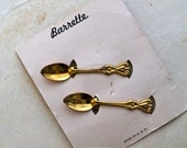 vintage 1940s hair clips - SPOON pair of hair barrettes (NWT)
