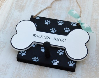 Personalised Dog lead holder or dog collar peg holder