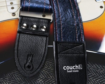 Midnight Blue Vintage Cadillac Guitar Strap Made of Repurposed 70s Vinyl