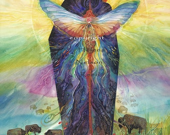 Earth Energy, woman and nature original art giclee by Helena Nelson - Reed