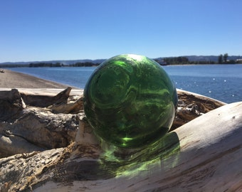 "Glass Fishing Float ~ 5"" Diameter, Made in England, Green"