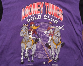 Looney Tunes Polo Club Hooded T-Shirt, Vintage 90s, Bugs & Daffy