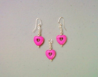 Hot Pink Heart Pendant and Earrings (0953)