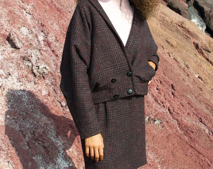 Vintage Wool suit 80s jacket and skirt set