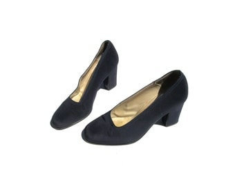 7 kenneth cole 90s new york black minimalist 1990s goth heels kawaii preppy rounded toe classic pumps school girl 7.5 womens heels classy