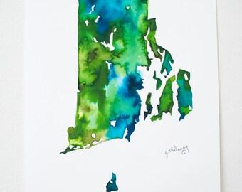 Rhode Island Watercolor Map
