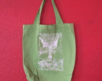Wolf Pack Print, Green Canvas Tote Bag, hand printed LINOLEUM Block
