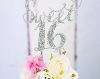 Sweet Sixteen Cake Topper for 16th Birthday Party in Wood or Glitter, Girl's Birthday Cake Topper 16th Sixteenth Birthday (Item - SWS900)