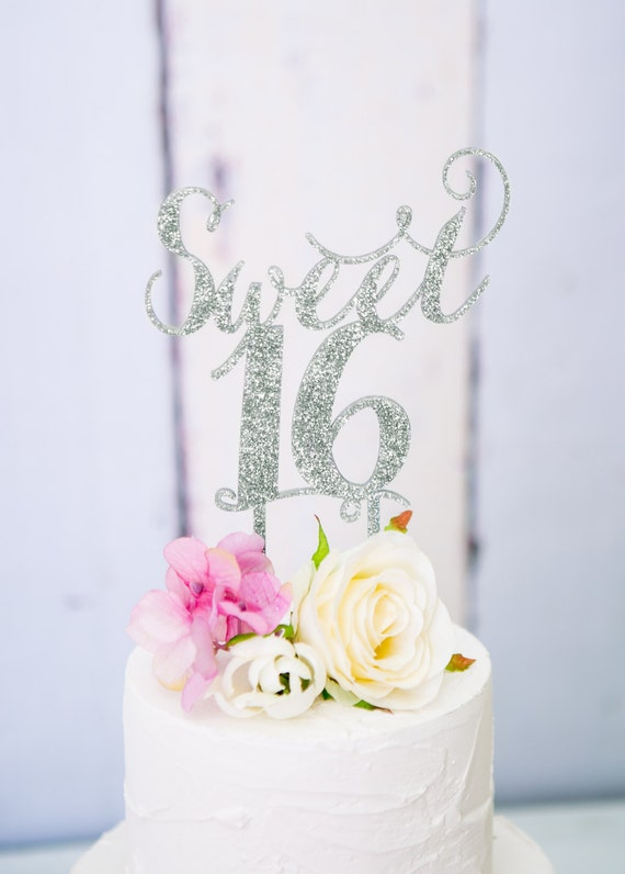 Sweet Sixteen Cake Topper For 16th Birthday Party In Wood Or