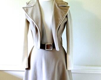 vintage knit dress & vest set - 1960s khaki/cream mod knit suede belted dress set