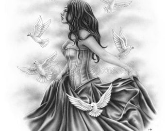 With the Doves Heaven Free Birds Flying Happiness Art Print Emo Fantasy Girl Zindy Nielsen