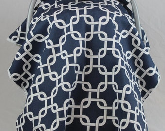 SALE! Navy and White Squares Canopy Cover - Minky Color of your Choice