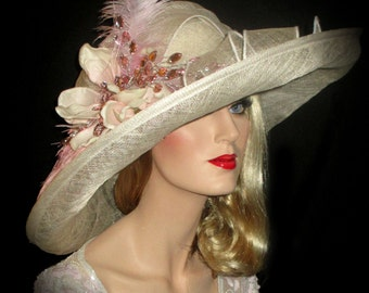 PINK MAGNOLIA BLING Kentucky Derby Hat, Wide Brim Ivory & Pink Sinamay Derby Hat, Pink Downton Abbey Derby Hat, 20s Wedding, Tea Party Hat