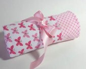 New! Handmade Flannel Baby Blanket - Pink Butterflies on White and Plaid - Reversible Baby Blanket, Baby Shower Gift, Receiving Blanket