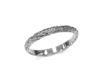 Rustic White Gold Wedding Band - 2.5mm - 14kt Gold - Rock Texture - Moonrock