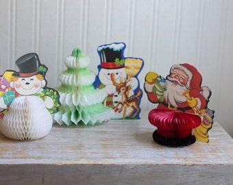 Vintage Christmas Honeycomb Decorations, Honeycomb Santa Clause, Tissue Christmas Tree, Beistle Snowman, Made Taiwan