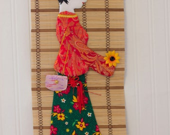 Geisha Girl Banner, Geisha Doll Art, Geisha with Flower, Vintage Geisha, Geisha Wall Hanging, Red Green Yellow, Vintage Asian Decor,
