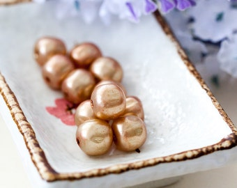 Vintage Light Brown Miriam Haskell Baroque Glass Pearl Beads from Japan