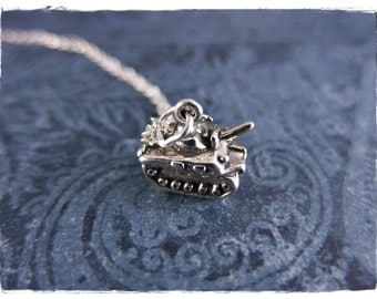 Silver Military Tank Necklace - Sterling Silver Military Tank Charm on a Delicate Sterling Silver Cable Chain or Charm Only