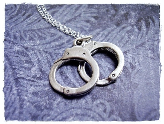 Large Silver Handcuffs Necklace - Sterling Silver Handcuffs Charm on a Delicate Sterling Silver Cable Chain or Charm Only