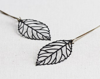 Black Leaf Earrings, Leaf Dangle Earrings on Antiqued Brass Hooks, Black Earrings, Long Dangles, Black Dangle Earrings, Autumn Jewelry