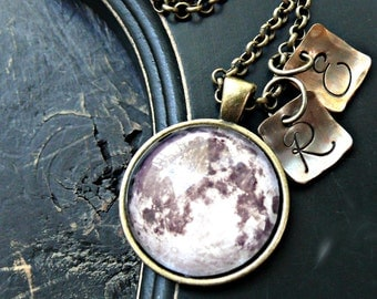 Hand Stamped Initial Moon Necklace - Personalized Moon Necklace - Glass Pendant Moon Necklace - Moon Image Necklace