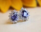 FEBRUARY SALE Pear shape amethyst halo earrings, Sterling silver halo earrings, halo studs, amethyst earrings