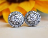 Halo Stud earrings, Clear CZ crystals, art deco whimsical, bridesmaid gifts