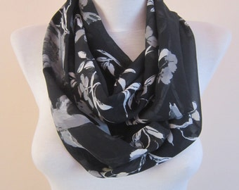 Bird Scarf, Animal Scarves, Spring Flower Accessories, Chiffon Women Shawl,Black Grey, Circle, Loop Tube Necklace