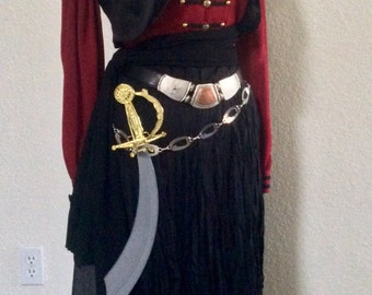 Deluxe Pirate Captain Costume - Adult Women's Pirate Captain Costume Including Belts & Jewelry - Large