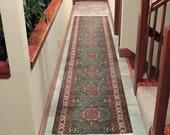 """Vintage Oriental Style Wool Hallway Rug - Runner Rug - 15.5' X 32"""""""