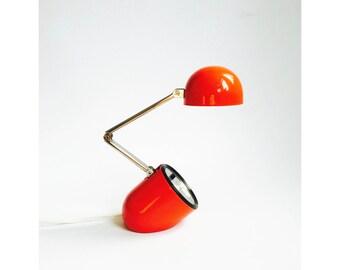 Vintage Collapsible Task Light / Red Desk Lamp