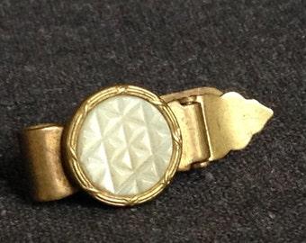 Stunning antique enamel tie or dress clip. Vintage precious retro accessory. Pretty gift idea for every elegants.