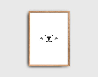 Rabbit Kids Poster / Minimalist Kids Room / Kids Decor / Toddler Room / Cat Poster / Minimal Nursery / Black and White Kids Poster
