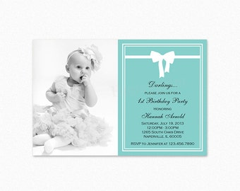 Breakfast at Tiffany's Birthday Party Invitation, Photo Invitation, White Bow, Teal Blue, Printable or Printed