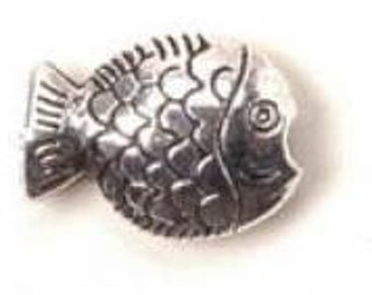Fish Bead Silver Pewter 14x10x4.5mm