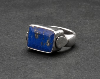 Square Lapis Lazuli Ring, Blue Gemstone Sterling Silver Ring, Contemporary Blue Lapis Ring, Everyday Blue Ring, Natural Lapis Lazuli Jewelry
